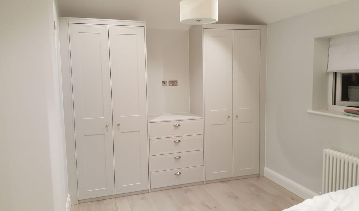 Two Double Wardrobes and Chest in Matt Dave Grey and Tullymore door style.