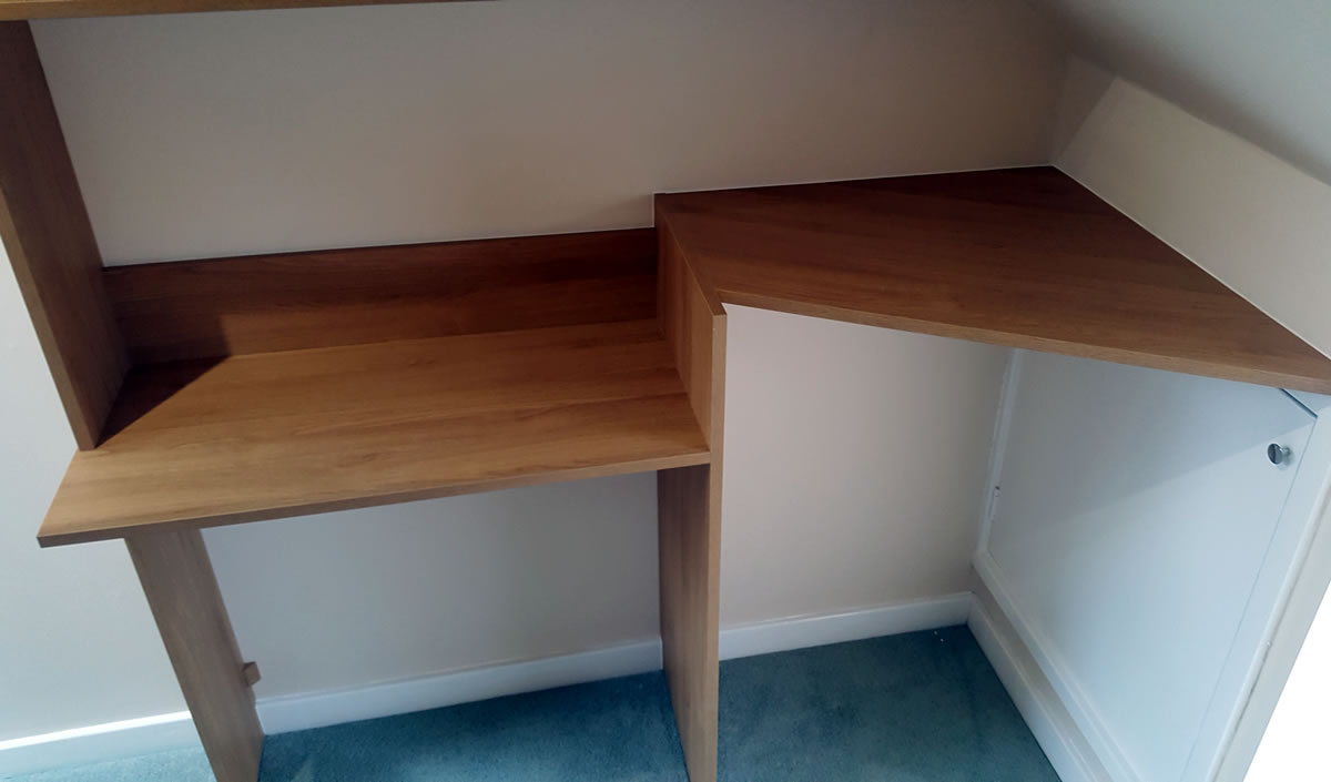Desk, shelf & access to attic