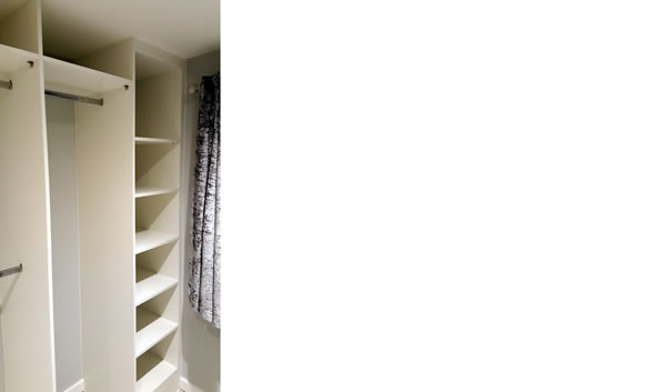 Walk-in door less wardrobe with top shelf, mix hanging rails & shelf unit with 7 adjustable shelves in White